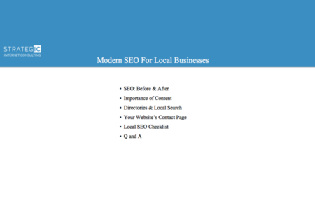 Modern SEO - For Local Businesses