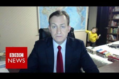 BBC News interview interrupted by kids