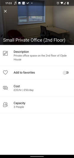 Bookable private office nu the day